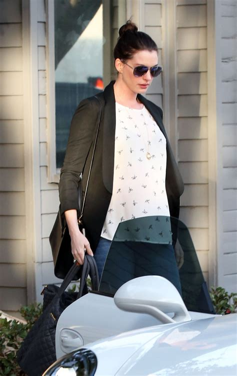 Pregnant ANNE HATHAWAY Leaves a Gym in West Hollywood 01