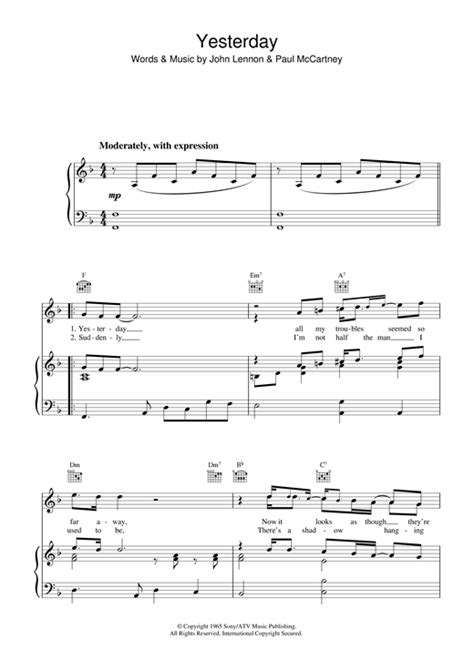 """The Beatles """"Yesterday"""" Sheet Music PDF Notes, Chords"""