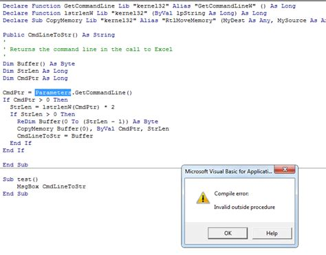 vba - Passing arguments from command line in excel 2010