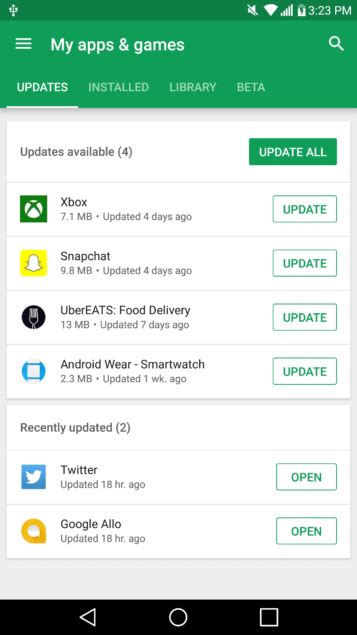 Google Play on Android refreshes its 'My apps & games