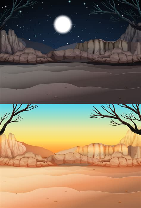 Nature scene with desert at day and night - Download Free