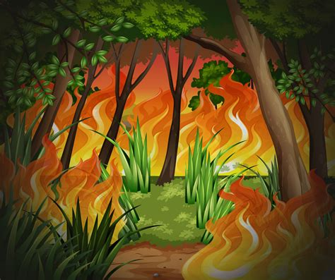 Dangerous wildfire forest background - Download Free