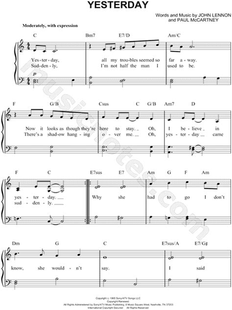 """The Beatles """"Yesterday"""" Sheet Music (Easy Piano) in C"""