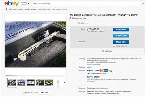 Elon Musk's Boring Company flamethrowers are on Ebay for