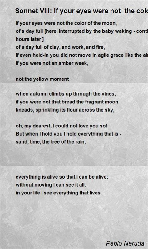 Sonnet Viii: If Your Eyes Were Not The Color Of The Moon