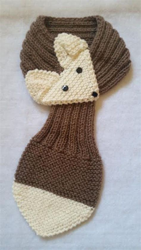 Fox Hand Knit scarf /neck warmer for KIds up to 12 years