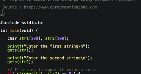 Programming Tutorials: C Program to Compare Two Strings
