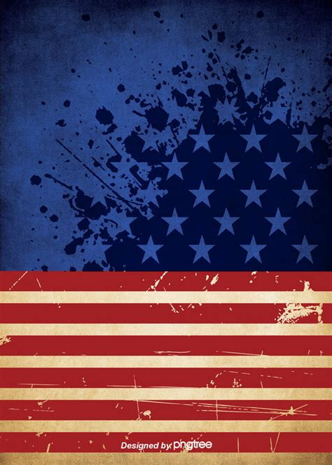 Background Of The American Flag With Retro Blue Red