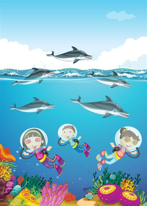 Dolphins and kids swimming under the sea - Download Free