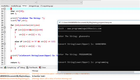 C Program to Convert String Lowercase to Uppercase And